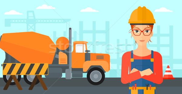 ストックフォト: 優しい · ビルダー · 女性 · 立って · 建設現場