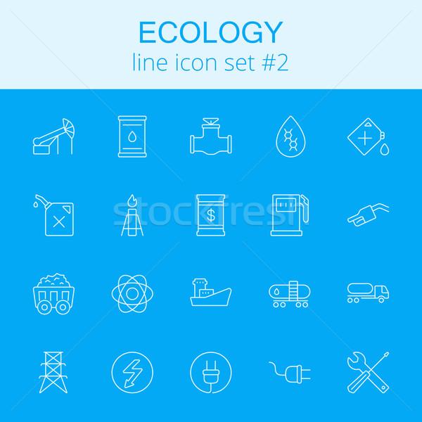 Ecologie vector lichtblauw icon geïsoleerd Stockfoto © RAStudio