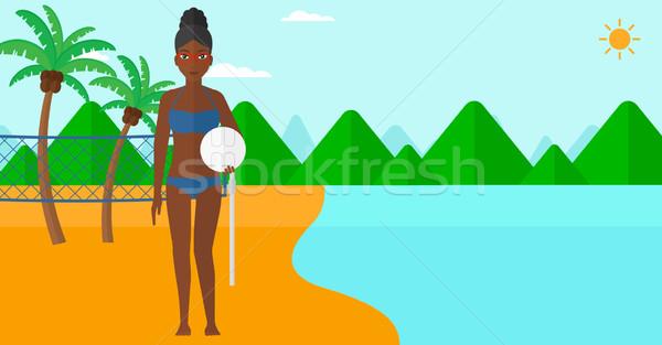 Plage volleyball joueur femme balle mains Photo stock © RAStudio