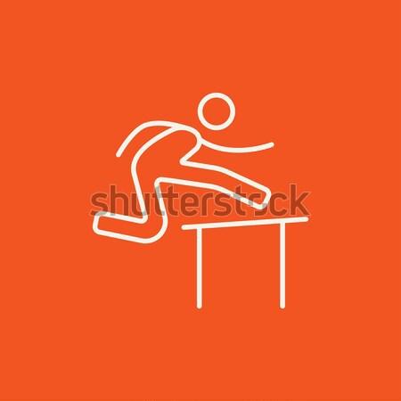 Man running over barrier line icon. Stock photo © RAStudio
