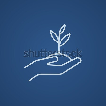 Hands holding seedling in soil line icon. Stock photo © RAStudio