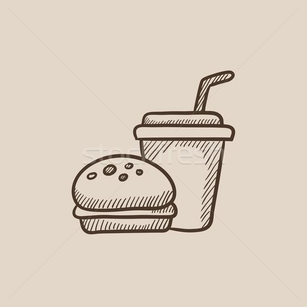 Fast-food refeição esboço ícone teia móvel Foto stock © RAStudio