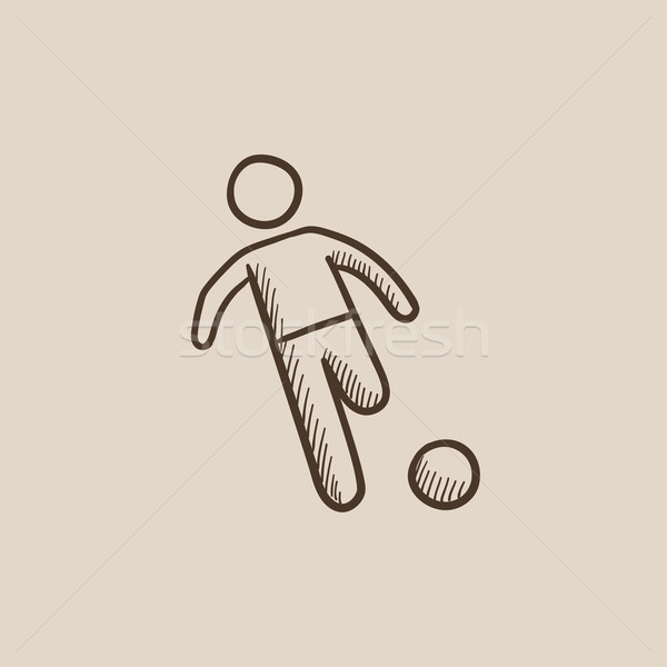 Soccer player with ball sketch icon. Stock photo © RAStudio