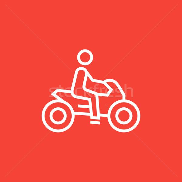 Adam binicilik motosiklet hat ikon köşeler Stok fotoğraf © RAStudio