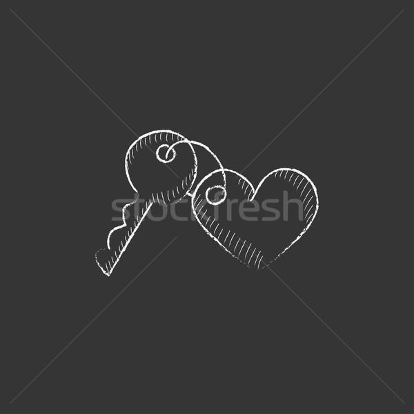 Gingillo tasti cuore gesso icona Foto d'archivio © RAStudio