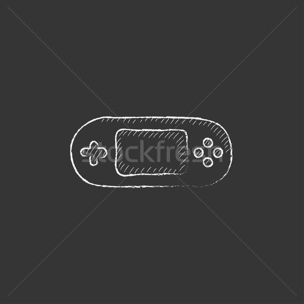 Játék konzol szerkentyű rajzolt kréta ikon Stock fotó © RAStudio