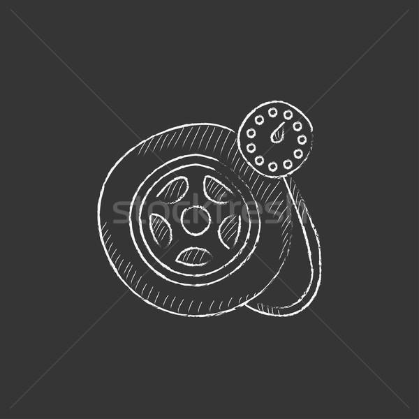 Pressure gauge tyre . Drawn in chalk icon. Stock photo © RAStudio