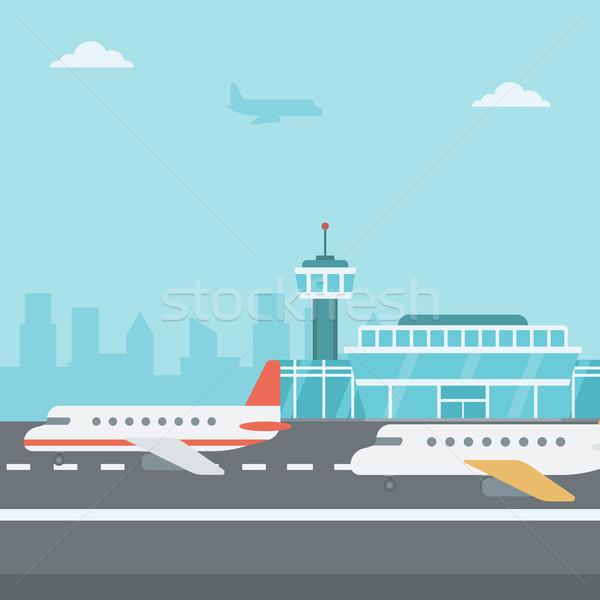 Background of airport with airplanes. Stock photo © RAStudio