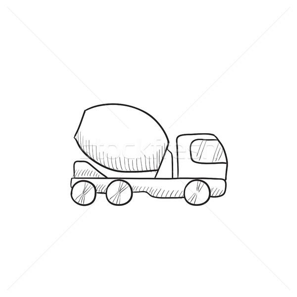 Concreto batedeira caminhão esboço ícone vetor Foto stock © RAStudio