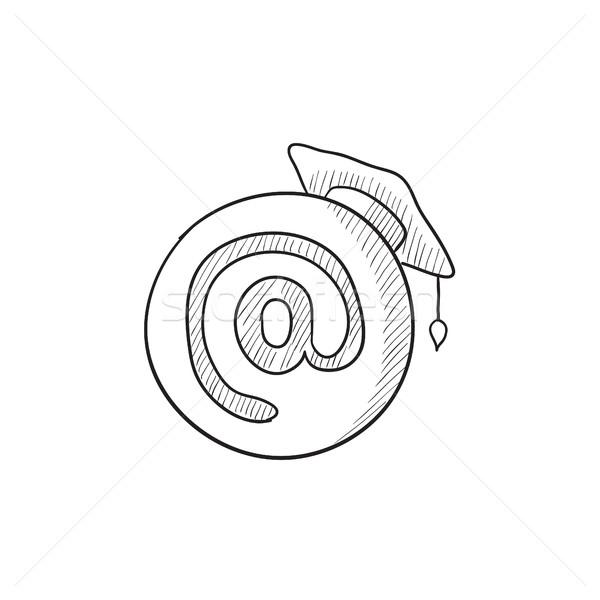 Graduation cap with at sign sketch icon. Stock photo © RAStudio