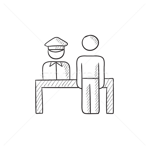 Stock photo: Airport security  sketch icon.