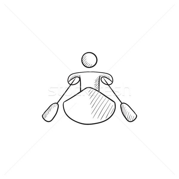 Man kajakken schets icon vector geïsoleerd Stockfoto © RAStudio