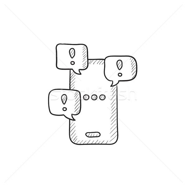 Tela sensível ao toque telefone esboço ícone vetor Foto stock © RAStudio