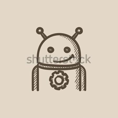 Android Gear эскиз икона вектора изолированный Сток-фото © RAStudio