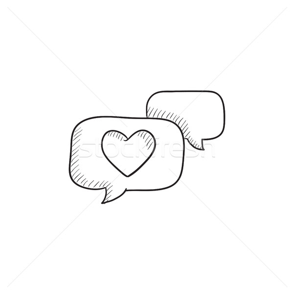 Heart in speech bubble sketch icon. Stock photo © RAStudio