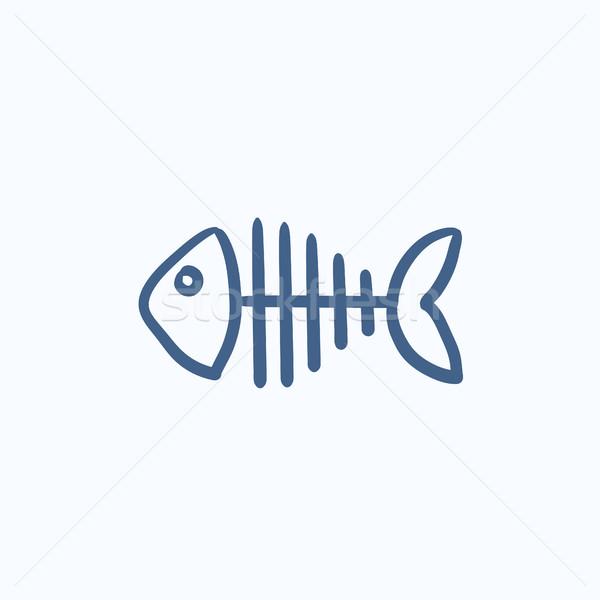 Fish skeleton sketch icon. Stock photo © RAStudio