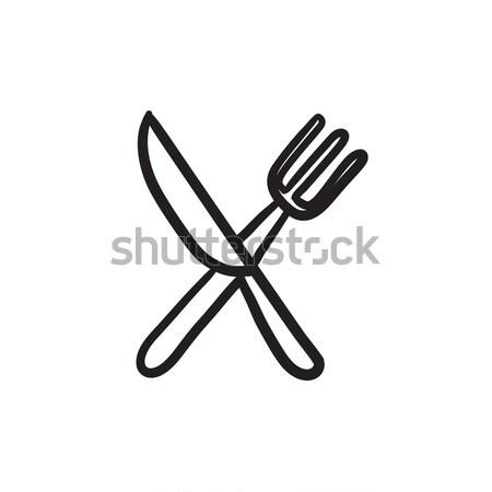 ножом вилка эскиз икона вектора изолированный Сток-фото © RAStudio