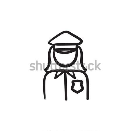 Poliziotta sketch icona vettore isolato Foto d'archivio © RAStudio