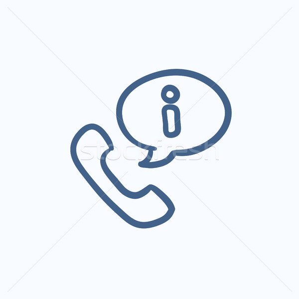 Handset with information sign sketch icon. Stock photo © RAStudio