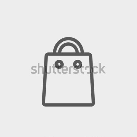 Stock fotó: Bevásárlószatyor · rajz · ikon · vektor · izolált · kézzel · rajzolt