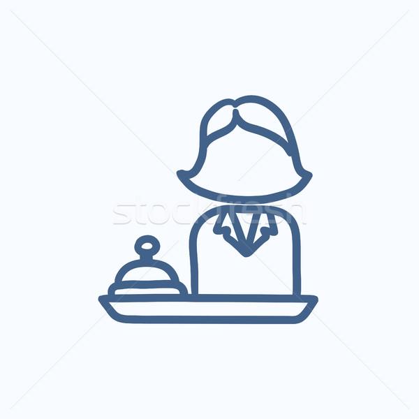 Feminino recepcionista esboço ícone vetor isolado Foto stock © RAStudio