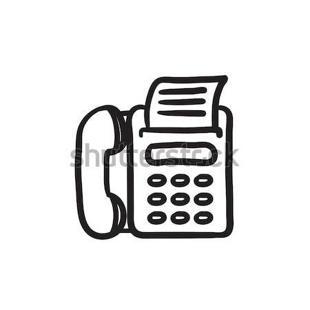 Faxgép rajz ikon vektor izolált kézzel rajzolt Stock fotó © RAStudio