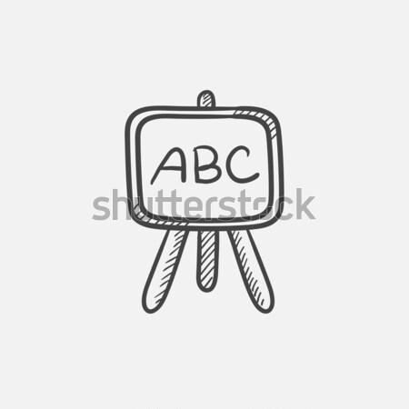 Tahta durmak kroki ikon vektör yalıtılmış Stok fotoğraf © RAStudio