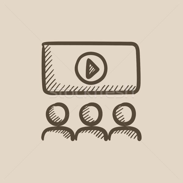 Assistindo filme cinematográfico esboço ícone vetor isolado Foto stock © RAStudio