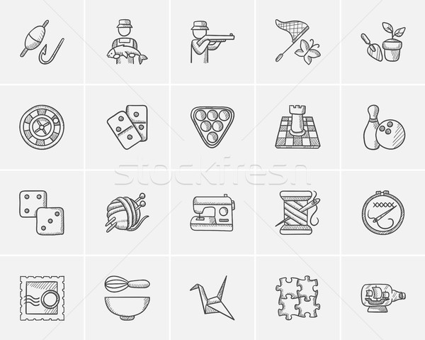 Hobby sketch icon set. Stock photo © RAStudio