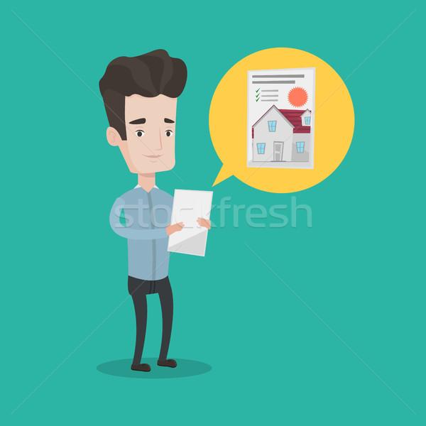 Man looking for house vector illustration. Stock photo © RAStudio