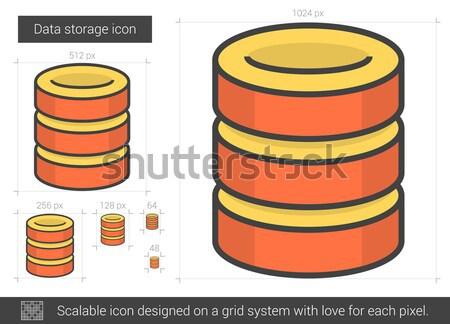 Stockfoto: Gegevensopslag · lijn · icon · vector · geïsoleerd · witte