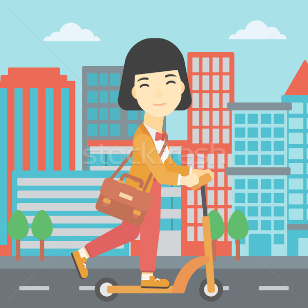 Woman riding kick scooter vector illustration. Stock photo © RAStudio