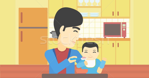 Father feeding baby. Stock photo © RAStudio