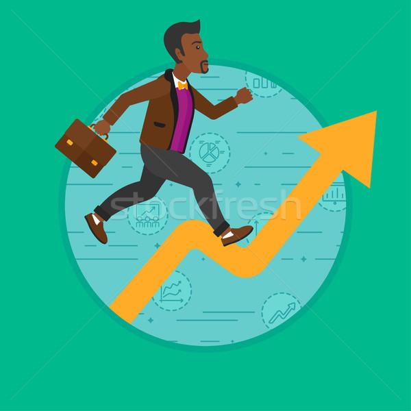 Człowiek uruchomiony wzrostu wykres biznesmen działalności Zdjęcia stock © RAStudio