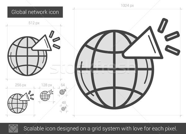 Сток-фото: глобальный · сеть · линия · икона · вектора · изолированный
