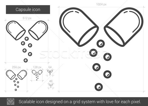 капсула линия икона вектора изолированный белый Сток-фото © RAStudio