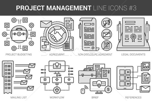 Projekt vezetőség vonal ikon gyűjtemény infografika metafora Stock fotó © RAStudio