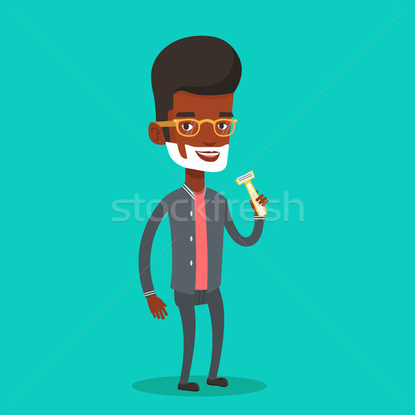 Man shaving his face vector illustration. Stock photo © RAStudio