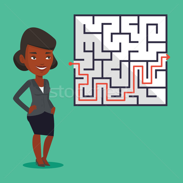 Zakenvrouw naar labyrint oplossing jonge denken Stockfoto © RAStudio