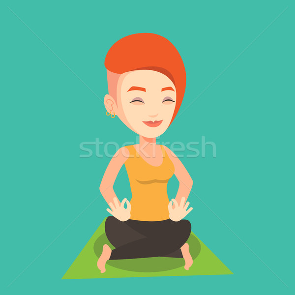 Stockfoto: Vrouw · mediteren · yoga · lotus · pose · jonge