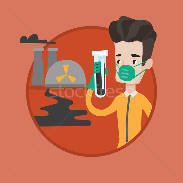 Homme rayonnement costume tube à essai permanent nucléaire Photo stock © RAStudio