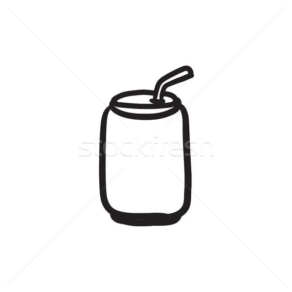 üdítős doboz iszik szalmaszál rajz ikon vektor Stock fotó © RAStudio