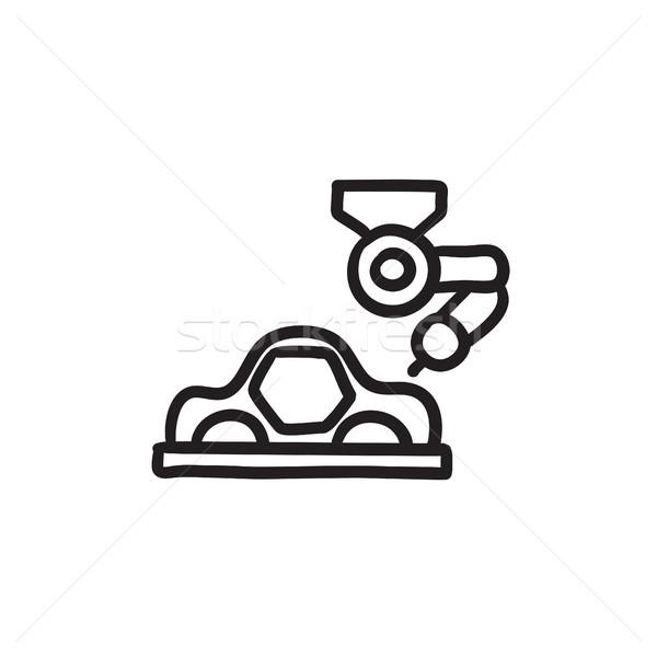 Voiture production croquis icône vecteur isolé Photo stock © RAStudio