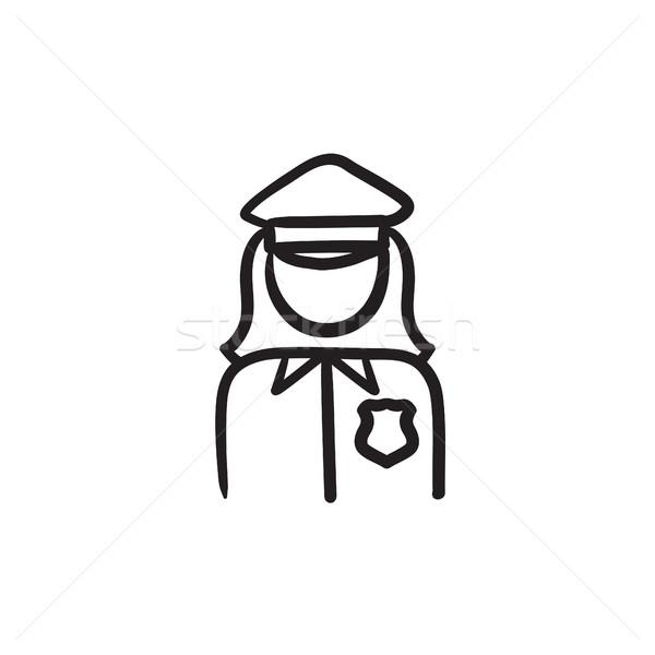 Mujer policía boceto icono vector aislado dibujado a mano Foto stock © RAStudio