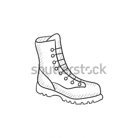 Boot with laces sketch icon. Stock photo © RAStudio