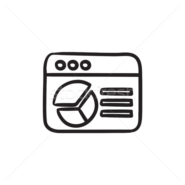 Böngésző ablak kördiagram rajz ikon vektor Stock fotó © RAStudio