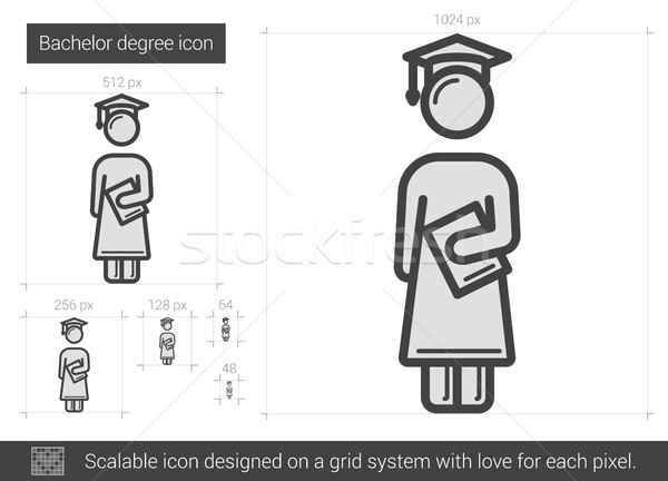 Bachelor degree line icon. Stock photo © RAStudio