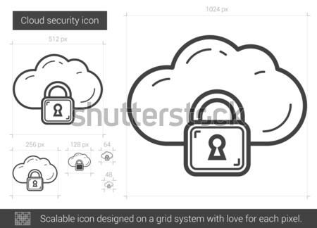 Stok fotoğraf: Bulut · güvenlik · hat · ikon · vektör · yalıtılmış