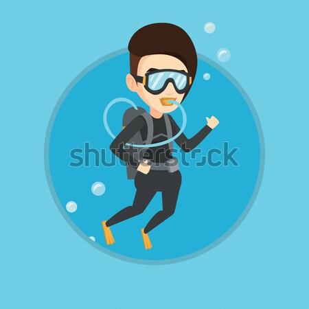 Vrouw duiken scuba tonen teken Stockfoto © RAStudio