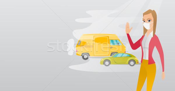Lucht verontreiniging voertuig uitputten vrouw permanente Stockfoto © RAStudio